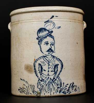 Exceptional Five-Gallon Stoneware Crock w/ Fine Decoration of a Hatted Man, Ohio, c1880