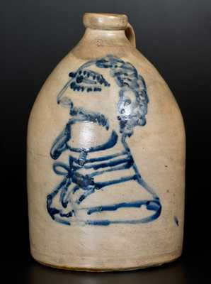 2 Gal. Stoneware Jug with Detailed Man's Bust Decoration