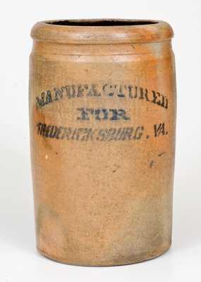One-and-a-Half-Gallon Fredericksburg, VA Stoneware Advertising Jar, Ohio origin