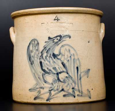4 Gal. W. A. MACQUOID & CO. (New York City) Stoneware Crock with Bold Federal Eagle Decoration