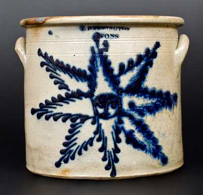 Fine 4 Gal. T. HARRINGTON / LYONS Stoneware Crock with Slip-Trailed Starface Decoration