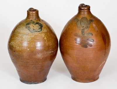 Lot of Two: Stoneware Jugs attrib. Bissett, Old Bridge, New Jersey, One Inscribed