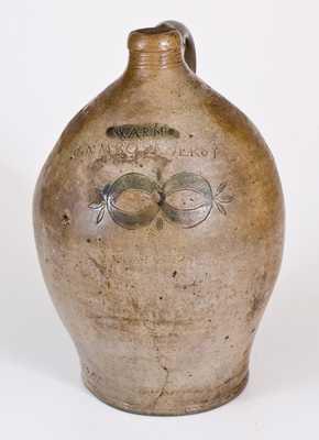 Unusual WARNE / S. AMBOY N. JERSY Stoneware Jug w/ Stamped Clam Shell Decoration