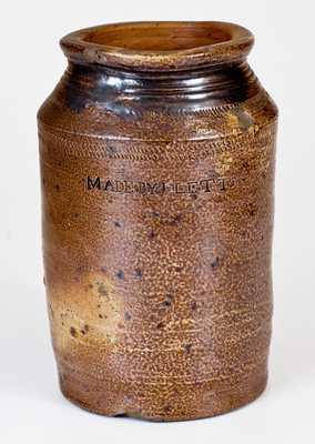 Rare 1/2 Gal. Stoneware Jar MADE BY J. LETTS, Joshua Letts, South Amboy, NJ