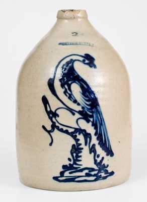 2 Gal. WHITES UTICA Stoneware Jug with Very Fine Bird-on-Stump Decoration