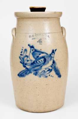 G. S. GUY & CO. / FORT EDWARD, NY Stoneware Churn w/ Double Bird Decoration