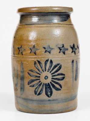 Exceptional Half-Gallon Greensboro, PA Stoneware Jar w/ Daisy and Star Motifs