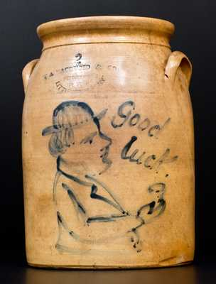 WM MACQUOID & CO / POTTERY WORKS / LITTLE WST 12TH ST. N.Y. Stoneware Jar w/ Man and