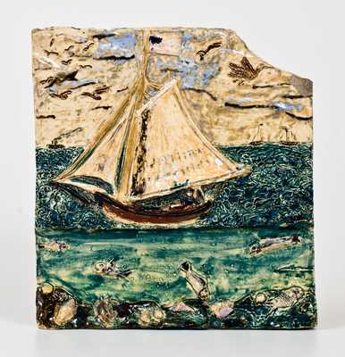 George Ohr Pottery Polychrome-Glazed Maritime Plaque, Inscribed