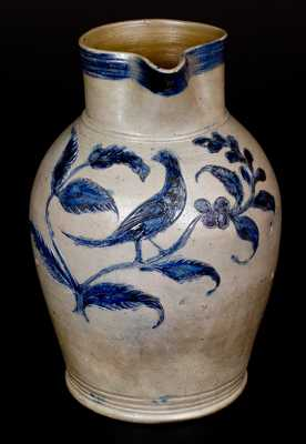 Henry Remmey, Baltimore, Stoneware Pitcher w/ Incised Bird Design