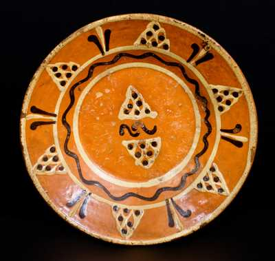 Alamance County, NC Redware Dish w/ Elaborate Two-Color Slip Decoration