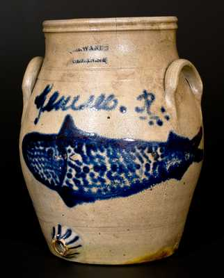 I.H. WANDS / OLEAN, NY Stoneware Fish Water Cooler w/ Genesee River Inscription