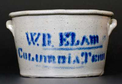 W.R. ELAM / COLUMBiA. Tenn Stoneware Jar made by J.H. Miller, Brandenburg, KY