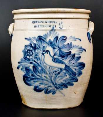 COWDEN & WILCOX / HARRISBURG, PA Stoneware Crock w/ Profuse Bird and Floral Scene