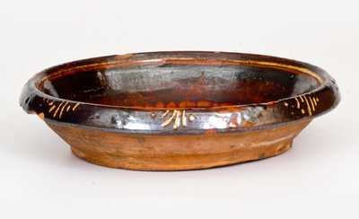 Rare Slip-Decorated Redware Bowl, possibly NC, late 18th or early 19th century
