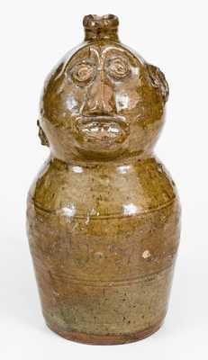 Alabama Stoneware Figural Jug, circa 1850-75