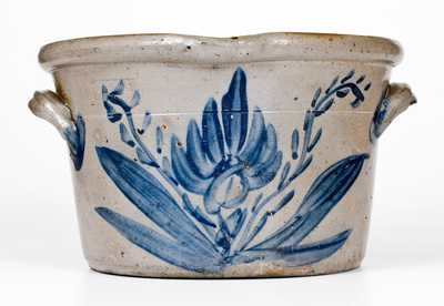 SOLOMON BELL / STRASBURG / Va Stoneware Milkpan w/ Profuse Cobalt Floral Decoration