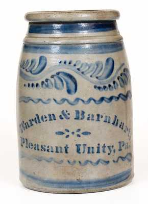 Pleasant Unity, PA Stoneware Canning Jar with Elaborate Freehand Decoration