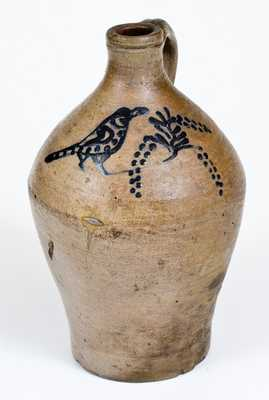 Stoneware Jug w/ Cobalt Bird-and-Grapes Motif, probably Adam States, Sr., South Amboy, NJ, Manhattan, NY, or Greenwich, CT, mid 18th century