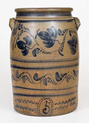 Fine Five-Gallon Western PA Stoneware Jar w/ Elaborate Freehand Cobalt Decoration
