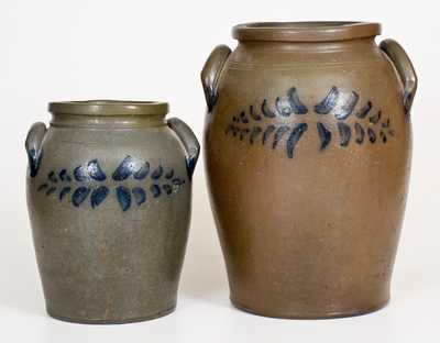 Two James River Valley of VA Stoneware Jars w/ Cobalt Decoration, mid 19th century