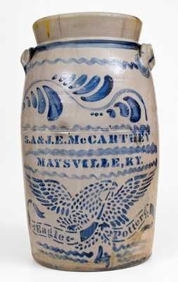 4 Gal. G. A. & J. E. MCCARTHEY / MAYSVILLE, KY Stoneware Churn, EAGLE POTTERY