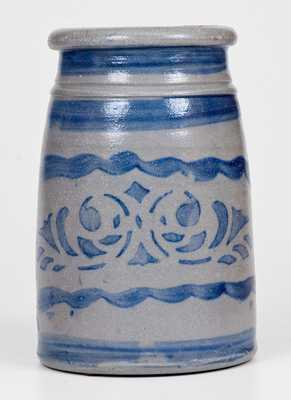 Western PA Stoneware Canning Jar w/ Striped and Stenciled Decoration