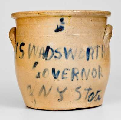 Rare J. S. WADSWORTH / GOVERNOR / OF NY STATE Stoneware Jar
