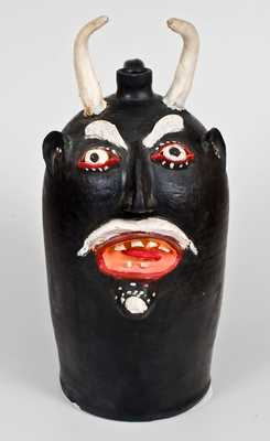 Monumental BROWN POTTERY / ARDEN, NC Stoneware Painted Devil Face Jug