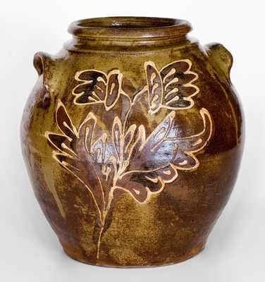 Attrib. Collin Rhodes, Edgefield District, SC, Four-Gallon Stoneware Jar w/ Two-Color Slip Floral Decoration