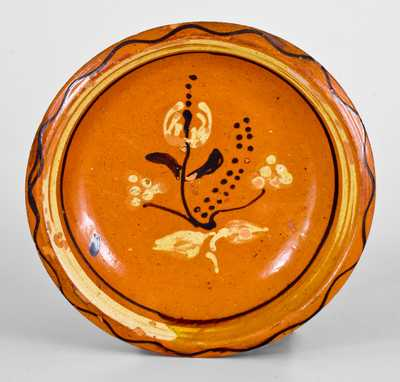Fine Redware Bowl with Two-Color-Slip Floral Decoration, probably North Carolina