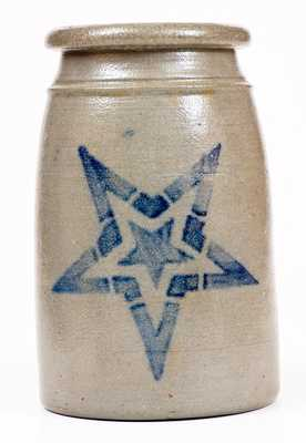 Western PA Canning Jar with Stenciled Cobalt Star Decoration