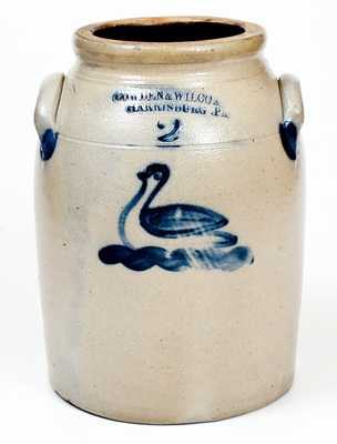 Very Fine COWDEN & WILCOX / HARRISBURG, PA Stoneware Jar with Swan Decoration