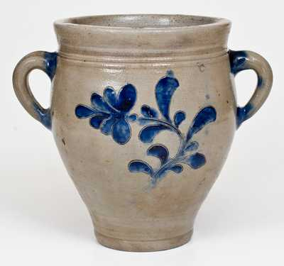 Small-Sized Vertical-Handled Manhattan Stoneware Jar with Incised Floral Decoration