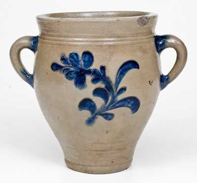 Exceptional Manhattan Vertical-Handled Stoneware Jar, probably Crolius Family, circa 1790