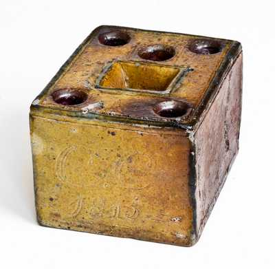 Extremely Rare and Important Crolius Family Stoneware Inkwell, Manhattan, NY, 1815