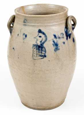PARR & BURLAND, Baltimore Stoneware Jar w/ Incised Military Figure