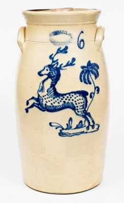 J. BURGER, JR. / ROCHESTER, N.Y. Stoneware Churn with Cobalt Leaping Deer Decoration