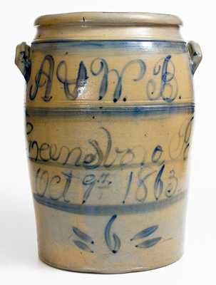 A. & W. B. / Greensboro, Pa. / Oct. 9th 1863, Boughner Family Stoneware Jar