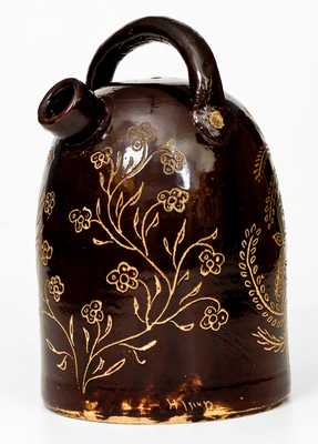 Exceptional Albany-Glazed Ohio Stoneware Harvest Jug, w/ Railroad Worker Inscription