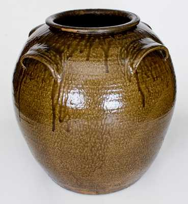 Daniel Seagle, Vale, NC Sixteen-Gallon Four-Handled Stoneware Jar with Alkaline Glaze