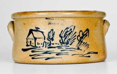 EVAN R JONES / PITTSTON, PA Stoneware Butter Crock with Cobalt House Scene