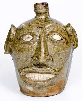 Large-Sized Edgefield District, SC Face Jug, circa 1845-65