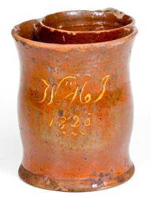 Rare Slip-Decorated Redware Presentation Shaving Mug, Inscribed