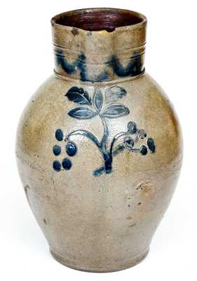 Fine Two-Gallon Early CT Stoneware Pitcher with Incised Grapes Decoration