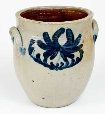 Three-Gallon Stoneware Jar with Cobalt Floral Decoration, Northeastern U.S. origin