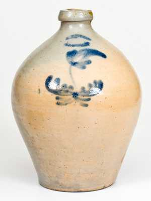 One-Gallon S. RISLEY / NORWICH Stoneware Jar with Cobalt Floral Decoration