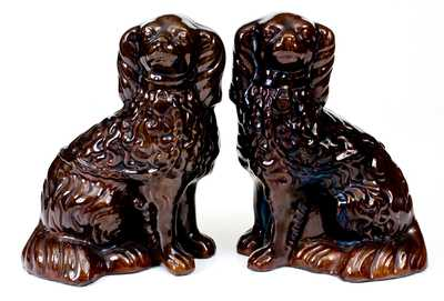Pair of Glazed Redware Spaniels, probably PA origin, circa 1840-80