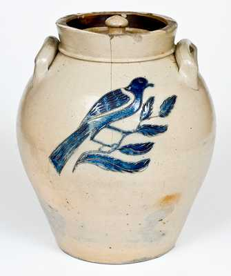Very Fine Utica, NY Lidded Jar with Bold Incised Bird Decoration