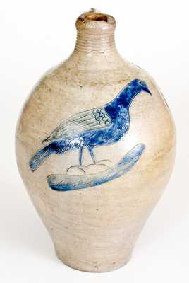 Very Fine Early Manhattan Stoneware Jug with Incised Bird Decoration